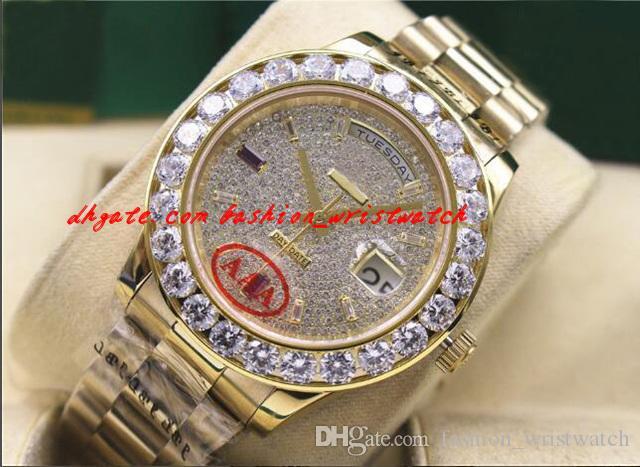 럭셔리 손목 시계 남성 시계 18038 18K 옐로우 골드 더 큰 다이아몬드 41mm 자동 기계적 강철 팔찌 남자 시계