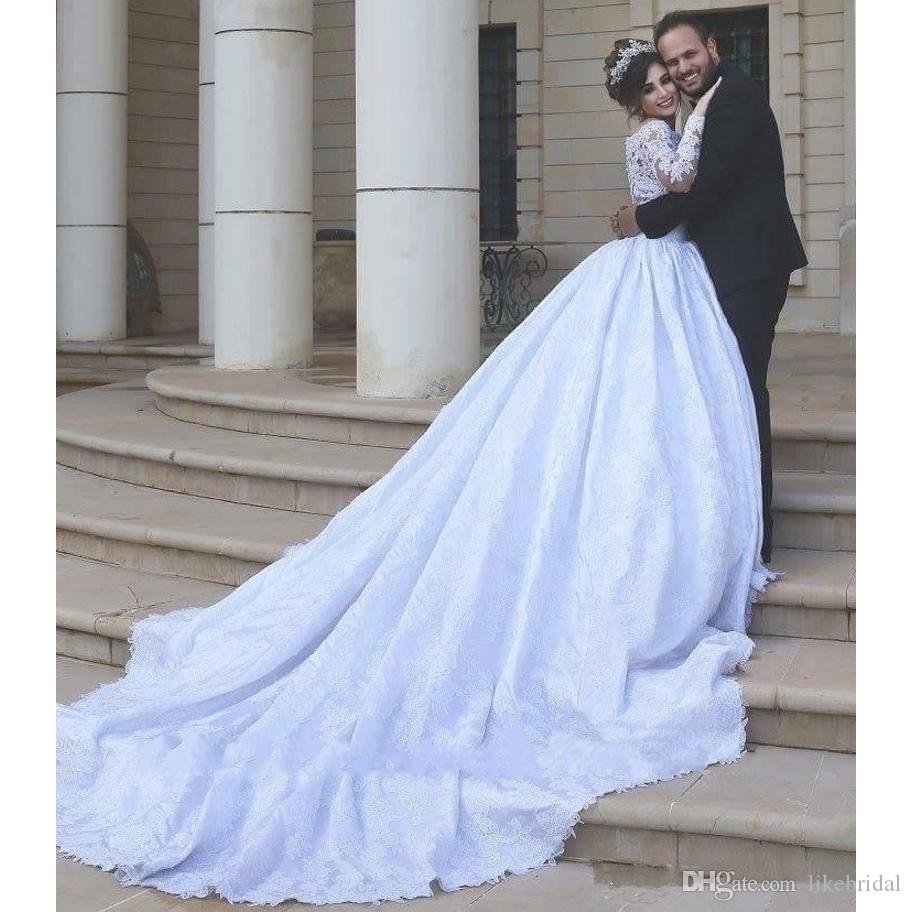 New Plus Size Wedding Dress Off the Shoulder Lace Vestidos de Novia Formal Bridal Gowns Long Sleeve Ball Gown Arabic White Wedding Dress