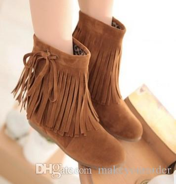 wholesaler free shipping factory price hot seller new style Half Boots tassels martin height increase fashion ankle boot women 094