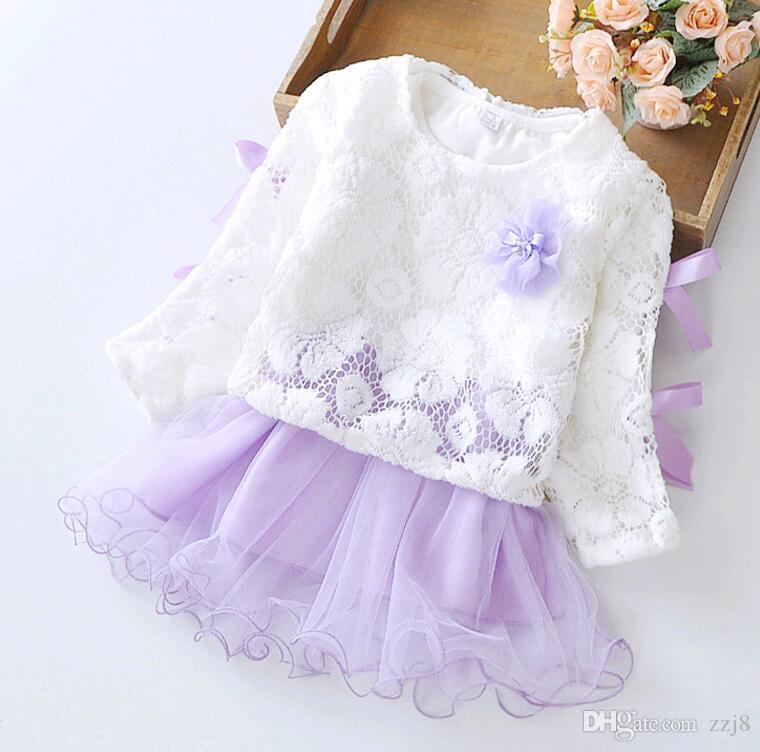 Herbst Winter Baby 2pcs Kleid Set für Mädchen aus reiner Baumwolle gespleißt Baby Röcke Kinder Kleidung Sets (Unterkleid und Häkelspitze) Großhandel