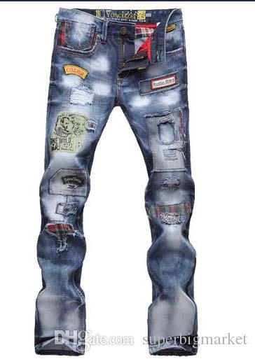 Cadeau de Noël pour !! TOP Hommes Jeans De Mode Jeans Déchiré Patch Holey Lavé Mots Droite Jambe Droite Équipée