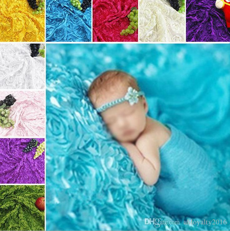 11 Colors Rosette Fabric Bridal Wedding Backdrop Newborn Baby Photography Backdrop Photo Props 3D Rose Fabric Blanket Rug