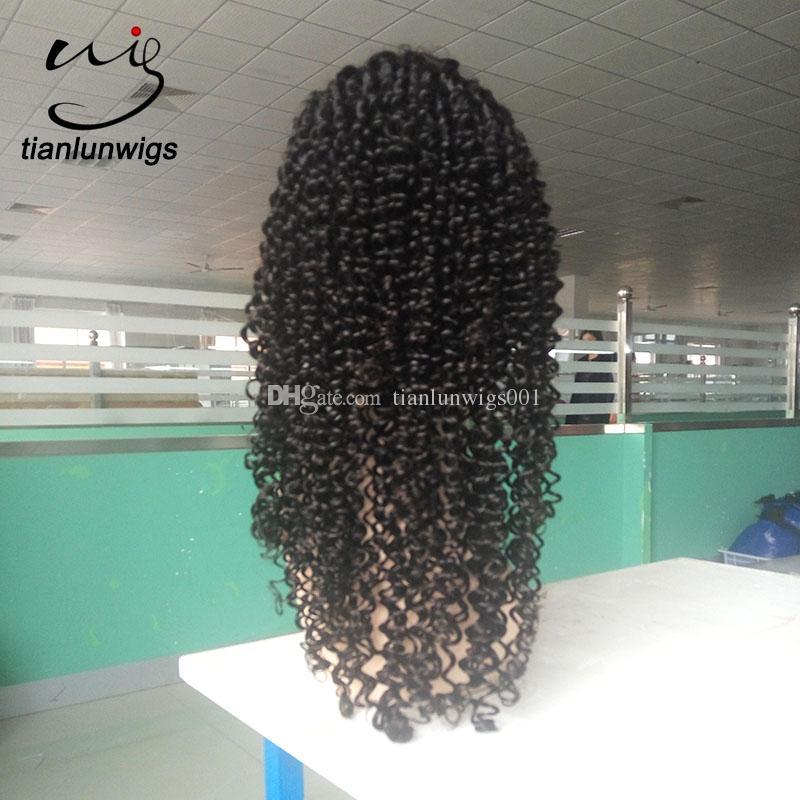 xintianlun 22 pouces cheveux humains vierge brésilienne pleine perruque de lacet perruque avant de lacet de couleur naturelle avec noeuds blanchis