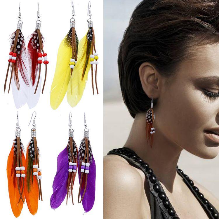 10 colors Women Feather Earrings Colorful Pierced Dangle Bead Earring Fashion Ladies Girls Good Jewelry Bohemia Style Dangle & Chandelier