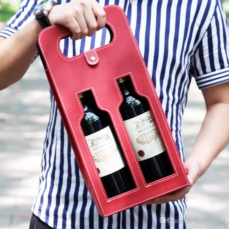 Luxo portátil PU Duplo Couro oca-out Red garrafa de vinho Tote Bag Embalagem Caso caixas de armazenamento presente com punho