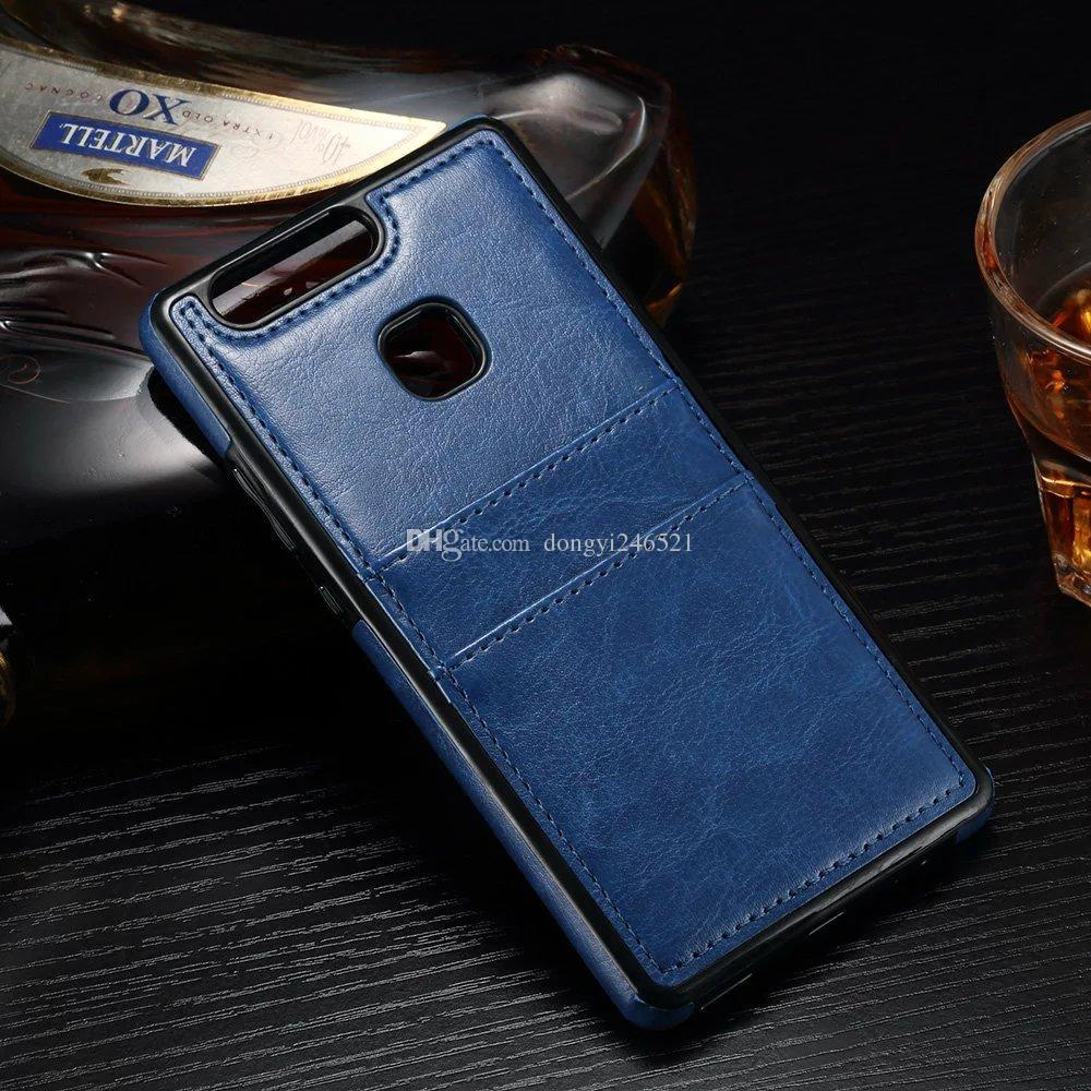 Nouveau pour Huawei P9 Lite P8 Lite Antichoc Rétro en cuir TPU Étui Coque Arrière Étui avec fentes pour carte de crédit titulaire pour Huawei Glory7