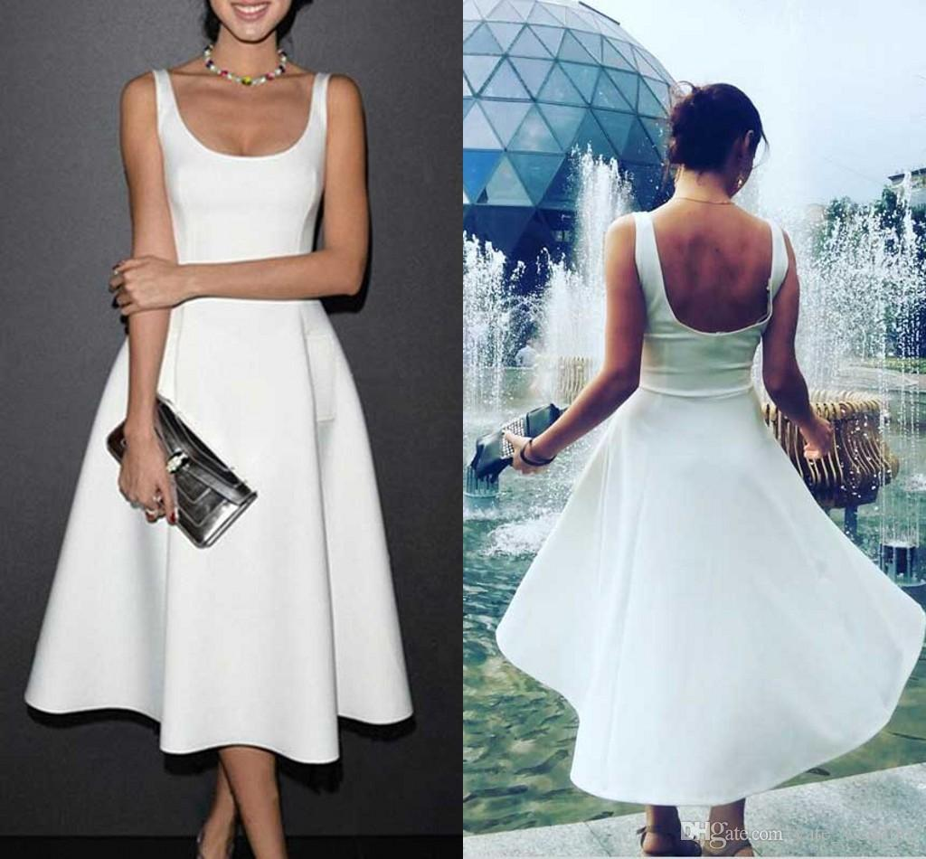 Simple White Satin Prom Dresses Square Sleeveless Ruched Tea Length Backless Homecoming Dresses Evening Party Dresses