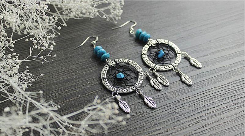 Nuevo estilo Dreamcatcher pendiente hecho a mano pendientes de gota de plata turquesa colgante gancho cuelga los pendientes para las mujeres joyería de moda