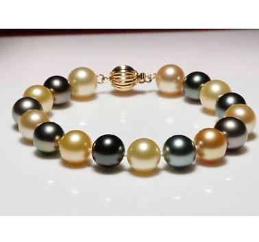 Hermosa natural 10-11mm mares del sur de oro negro pulsera de perlas multicolor 14k broche de oro