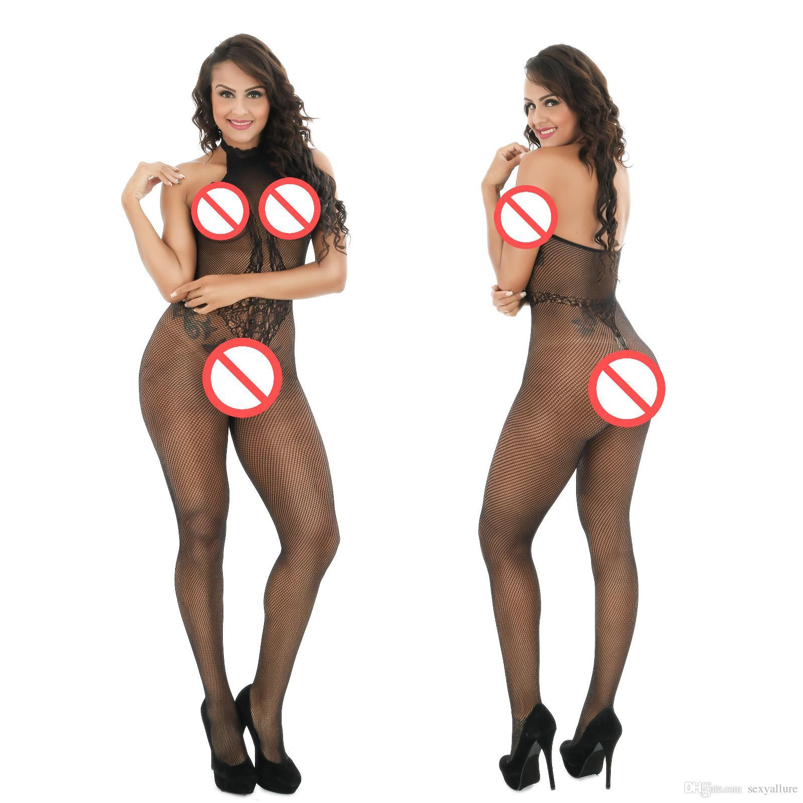 Sexy Strappy Fishnet Bodystockings Plus Size Crotchless Body per le donne 2017 Formato libero Spedizione gratuita con apertura sul cavallo Sexy Bodystocking