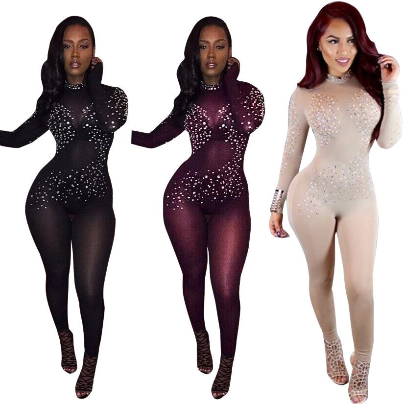 Al por mayor- 2017 hot sexy ver a través de las mujeres mono de malla negro de manga larga club party body mujeres lentejuelas dot bodycon jumpsuit rojo vino
