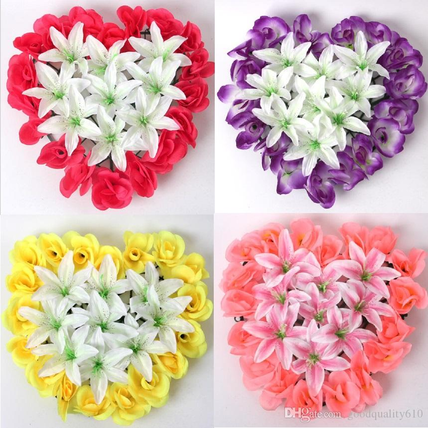 5pcs Artificial Silk Rose& Lily Heart Arch Frame In a row Decorative Wedding Road Led Flower Wedding Props