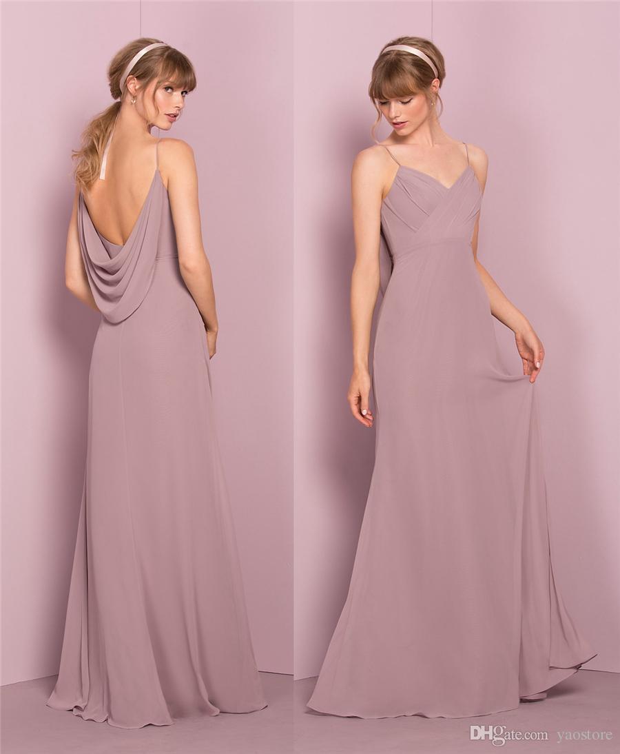 Elegant Soft Chiffon Long Bridesmaid Dresses 2017 Spaghetti Straps ...