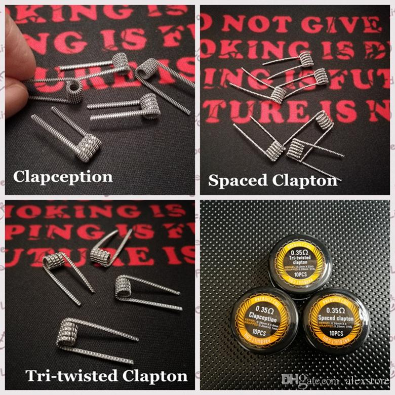 Spaced Clapton Tri-twisted Clapton Clapception Coils Wire 0.35ohm 316L Stainless Steel Material Premade Wrap Prebuilt Wires for RDA Vape DHL