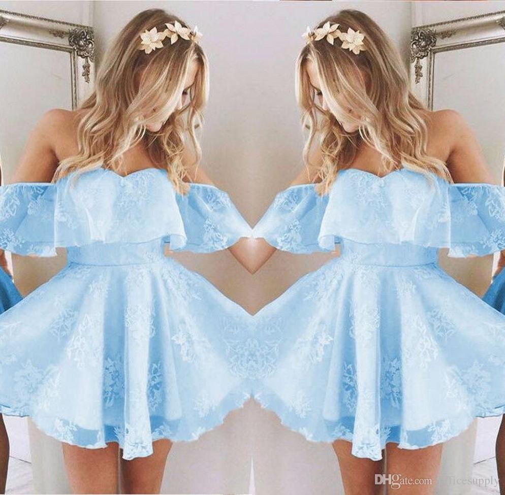 Старинные Новые короткие домохозяйственные платья выпускного вечера кружева аппликация из бисера мода мода ледяной синий без плеча коктейль партии платье на заказ