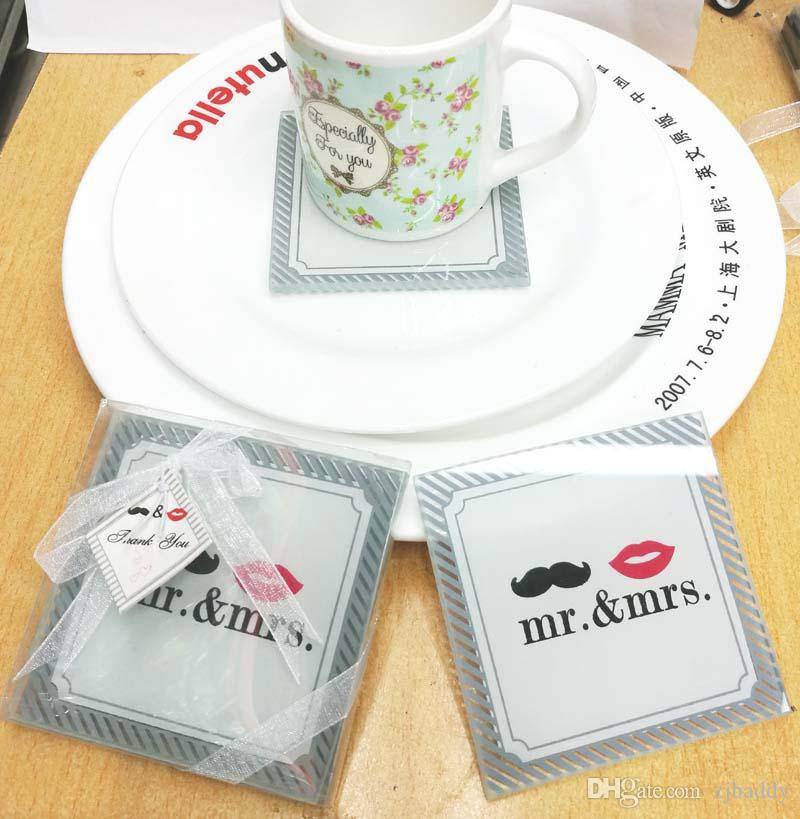 Indian Wedding Favors Glass Coaster mr mrs Placemats Cup Mat Casamento Wedding souvenirs guests 20pcs(10sets)