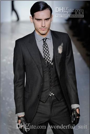 New Style Charcoal Two Buttons Groom Tuxedos Best Man Peak Lapel Groomsmen Men Wedding Suits Bridegroom (Jacket+Pants+Tie+Vest) H809