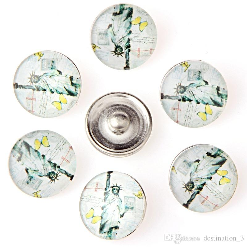 10 pçs / lote Cores Misturadas Estátua da Liberdade botão 18mm botão de Pressão de vidro Jóias Snap Snap Snap pulseira snaps jóias Para As Mulheres