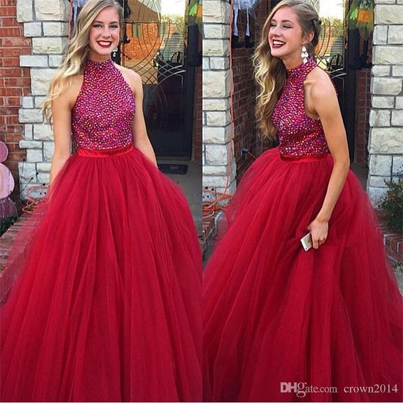 High Neck Red Tulle Prom Dress 2019 Long Plus Size Beaded Evening Gown Holiday Formal Dresses Evening A-line Celebrity Elegant Pageant Gowns