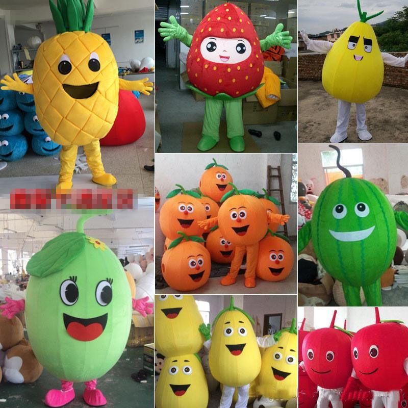 2017 Factory direct sale Fruit mascot costume Apple pumpkin lemon watermelon cartoon costume adult children size party fancy dress