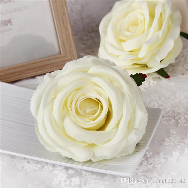 20pcs 9cm artificielle Rose capitules Parti soie décoratif décoration florale mur mariage Bouquet de fleurs blanc artificiel Roses Bouquet