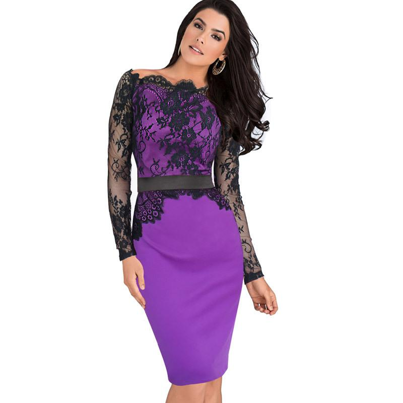 Lcw New Fashion Women Elegant Pinup Vintage Lace Off Shoulder Patchwork Belted Stretch Colorblock Bodycon Party Fitted Dress