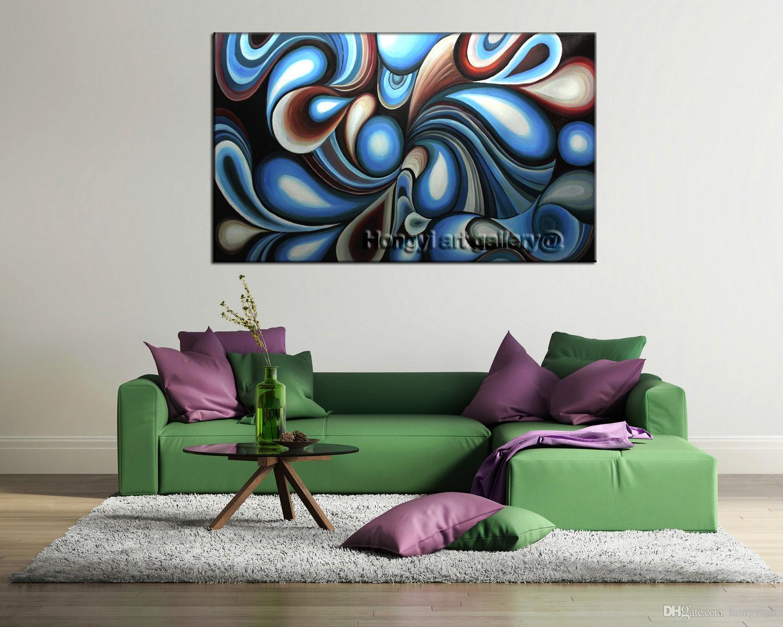 Compre 100% Hecho A Mano Moderno Arte De La Pared Arco Iris Colorido ...