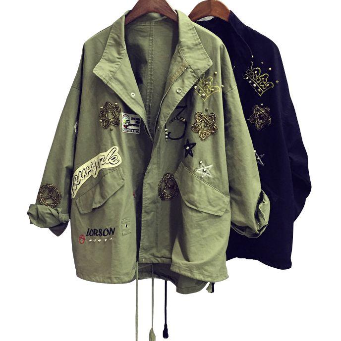 2017 parche bordado coreano diseño ejército chaqueta verde remache BF tide mujeres punk Denim Coat Jacket