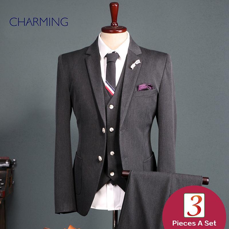 Формальные костюмы для мужчин Мужские из трех частей костюм высокое качество ткань человек костюм дизайн мужские деловые костюмы мода