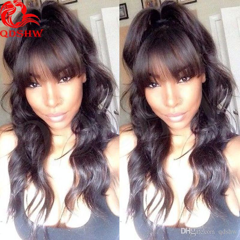 Full Lace Human Hair Wigs Bangs Pre Plucked Glueless Body Wave Virgin Brazilian Human Hair Lace Front Wigs With Bangs For Black Women