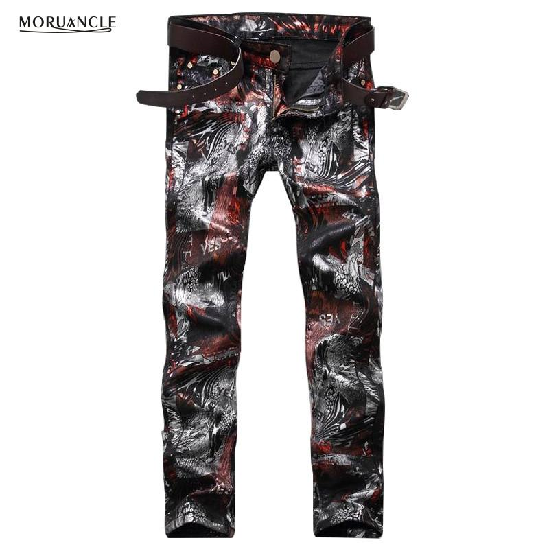 Wholesale- Fashion Mens Floral Printed Jeans Pants Slim Fit Hip Hop Painted Denim Joggers Man Club Wear Personality Jeans Trousers Straight