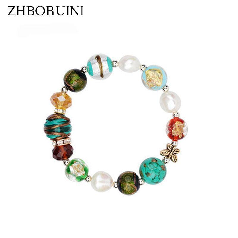 Atacado- ZHBORUINI Charm Bracelet Natural de água doce pérola barroco pulseira de vidro 925 Sterling Silver Pearl jóias Chamilia Beads presente