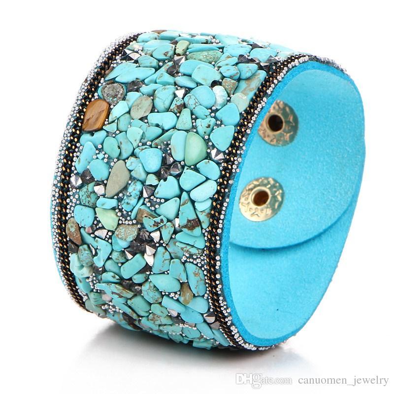 Wide Leather Bracelet Spall Breakstone Crystal Punk Handmade Bohemia Jewelry Party Women Accessory Charm Wholesale Drop Shipping
