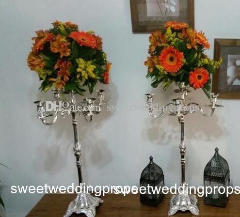 Hiçbir çiçek dahil) uzun Toptan Benzersiz Düğün Metal Altın Renk Çiçek Vazo Sütun Düğün Centerpiece Dekorasyon için Standı