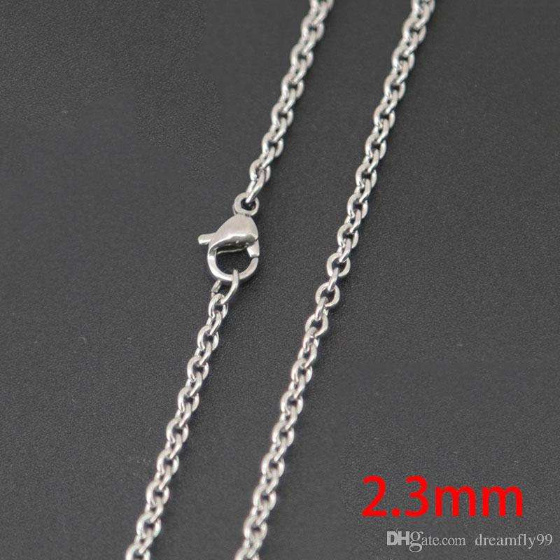 """10pcs super lowest price Silver Jewelry Stainless Steel 18"""" 20"""" 24"""" 30"""" 2.3mm necklace Chains for living glass lockets & Diffuser oil Locket"""