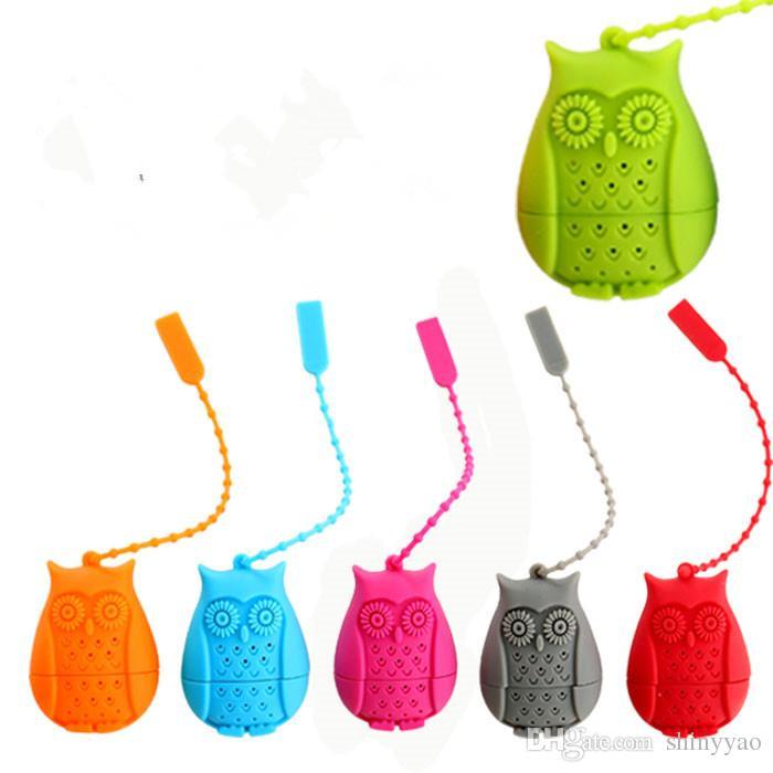 Frete Grátis-Bonito Nova moda Coruja Chá Infusor de Silicone Strainers ferramentas Filtro de Chá Infusor Filtro Vazio Saco De Chá Folha Difusor