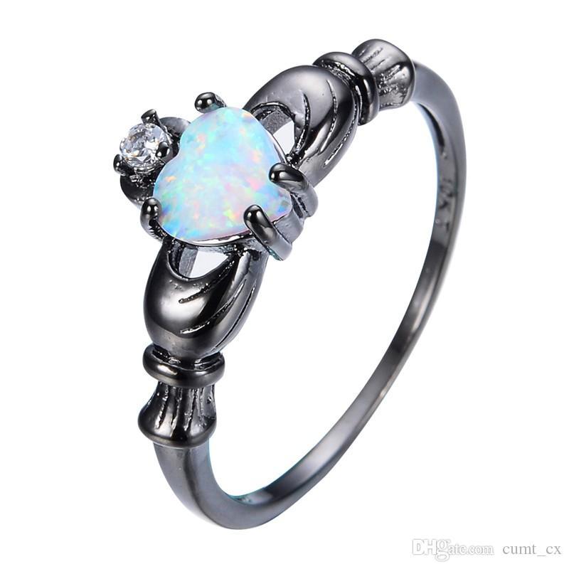 Elegante Coração Cut Rainbow Opala Claddagh Anel Moda Branco CZ Jóia Do Casamento Anéis De Noivado de Ouro Cheio Promessa Anéis