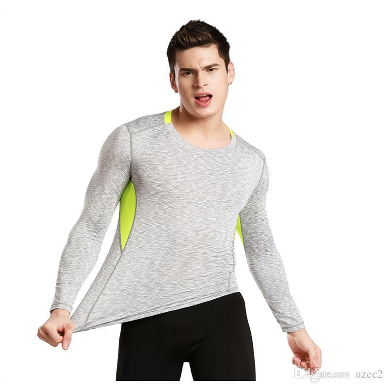 새로운 스포츠 피트니스 의류 남성 빠른 소매 긴팔 T 셔츠를 실행 탄성 압축 스타킹