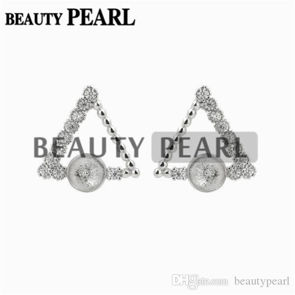 Triangle Earrings Pearl Semi Mount Zircon 925 Sterling Silver DIY Jewelry Findings Earring Base 5 Pairs