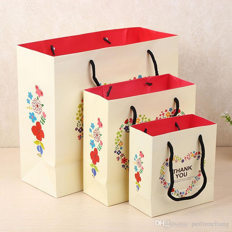 """Confezione regalo di carta """"Grazie"""" 3 Confezioni regalo bianco di diverse dimensioni Confezione floreale Corona d'amore Confezioni di borse a mano ZA3409"""