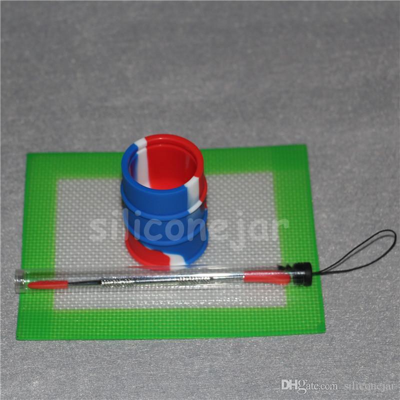 Conjunto de Kit de Cera de Silicone com 14 cm * 11.5 cm folhas quadradas almofadas tapetes 26 ml barril de silício ferramenta de dabber prata longo para frascos de erva seca dab