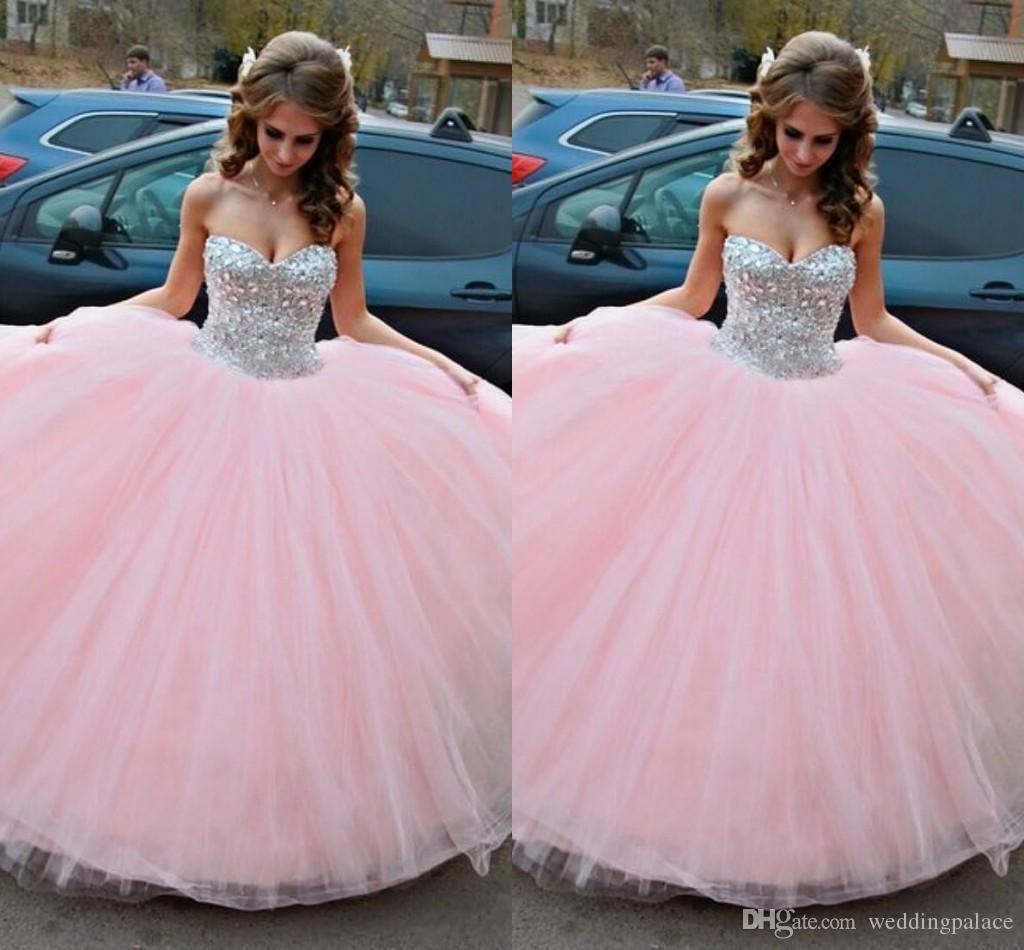 großhandel kostenloser versand ballkleid rosa quinceanera kleider sparkle  crystals sweet 16 kleider schatz geburtstag prom dresses von weddingpalace,