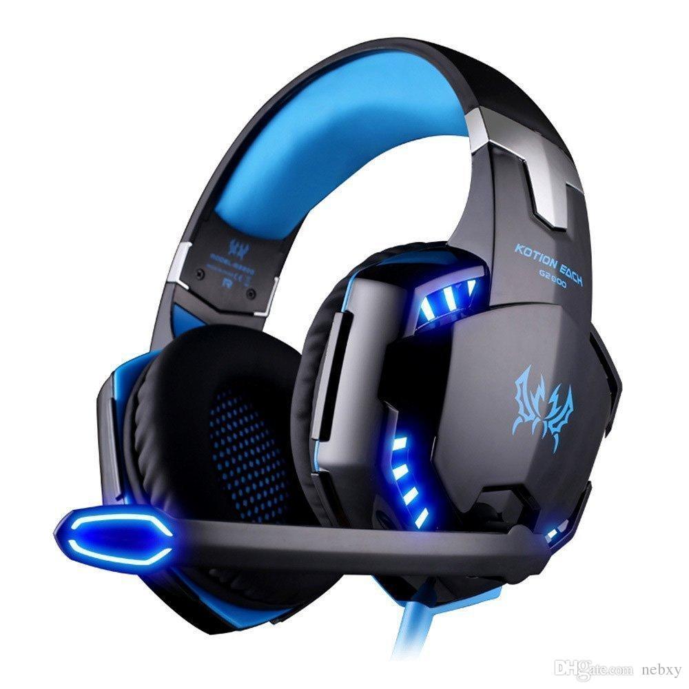 سماعة رأس ستريو للألعاب لجهاز PS4 Xbox وسماعات رأس فوق الأذن مزودة بميكروفون وأضواء LED والتحكم في مستوى الصوت لأجهزة الكمبيوتر المحمول وأجهزة الكمبيوتر الشخصية وأجهزة Mac و iPad والهواتف الذكية