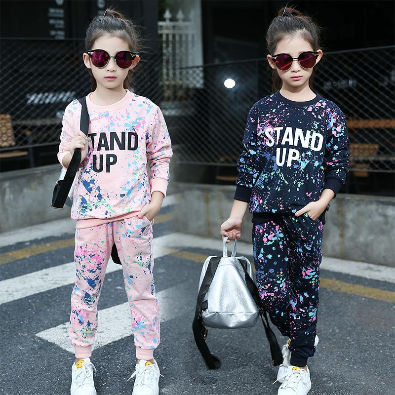Оптовые - детские наборы одежды для девочек спортивные костюмы хлопка Sporstwear Graffiti Kids Tracksuits Письмо девушки наряда 4 6 8 10 12 лет