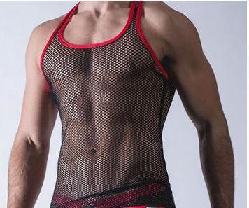 Al por mayor-2016 nuevos hombres atractivos de malla transparente Chaleco Net ropa interior atractiva Undershirts chaleco Vea a través de Tank Tops Chaleco de la aptitud