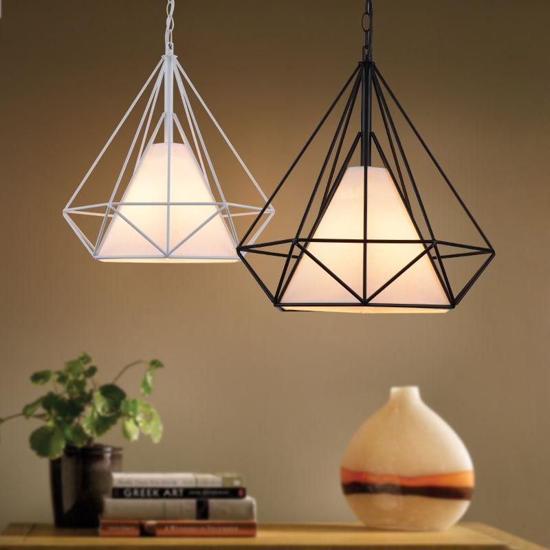 Modern Scandinavian Minimalist Bird Cage Pendant Lamps Art Diamond Pyramid Pendant Lights Vintage Iron Black White Rustic Light Brushed Nickel Pendant