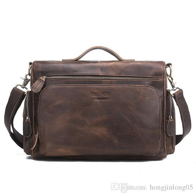 정품 가죽 남자 가방 빈티지 Totes 핸드백 남자 메신저 가방 서류 가방 남자 여행 가방 숄더 백 MB053