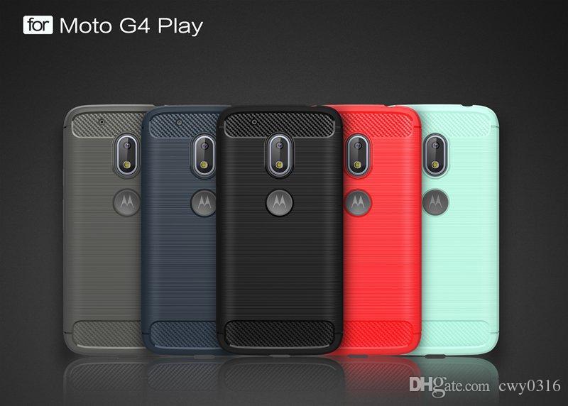 ec2a1739d9c Funda para Motorola Moto G4 Play Bolsa de teléfono móvil Fibra de carbono  Cepillado TPU Fundas ...