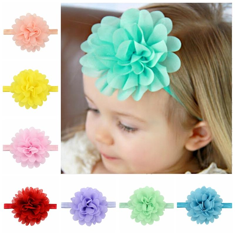 Baby Headbands Flowers Girls Elastic Headband Chiffon Flower Head bands Newborn Infant Hairbands for Girls Children Hair Accessories KHA297