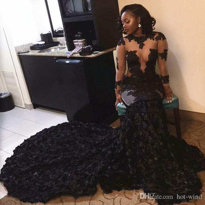 Cascading Rüschen 2020 Luxus Black Lace Appliques Prom Kleider Sheer Mermaid Long Sleeves Illusion Mieder Abendkleider Vintage Kleider